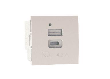 Módulo 45 x 45 cargador doble(USB tipo A+ tipo C 4,2 A)